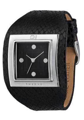 01 The One 01TheOne AN01M04 mm Stainless Steel Case Black Leather Mineral Women's Watch