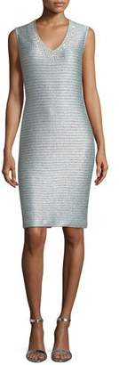St. John Gleam Metallic Knit V-Neck Cocktail Dress