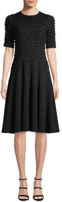 Rickie Freeman For Teri Jon Fit-and-Flare Crepe Wool Dress w/ Pearly Beading