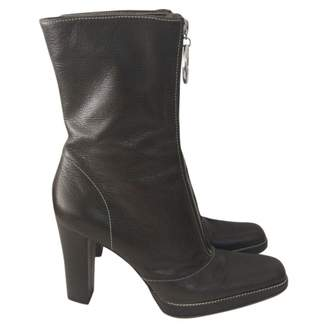 Sergio Rossi Khaki Leather Boots