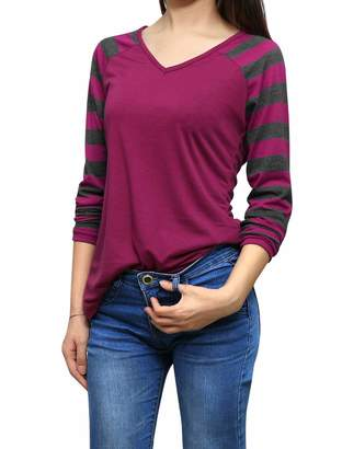713526c851 Allegra K Women's Striped Long Raglan Sleeves V Neck T-Shirt XL