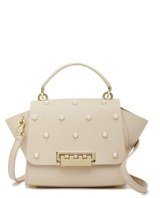 Zac Posen Eartha Iconic Faux Pearl Top Handle Leather Crossbody Bag