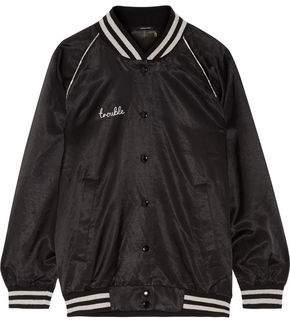 R 13 Double Trouble Appliquéd Cotton-Blend Satin Bomber Jacket