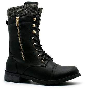 7fba9a0a10aa at Amazon Canada · Forever Link Womens Mango-31 Round Toe Military Lace up  Knitted Ankle Cuff Low Heel