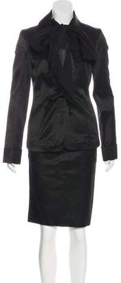 Nina Ricci Tie-Accented Satin Skirt Suit w/ Tags