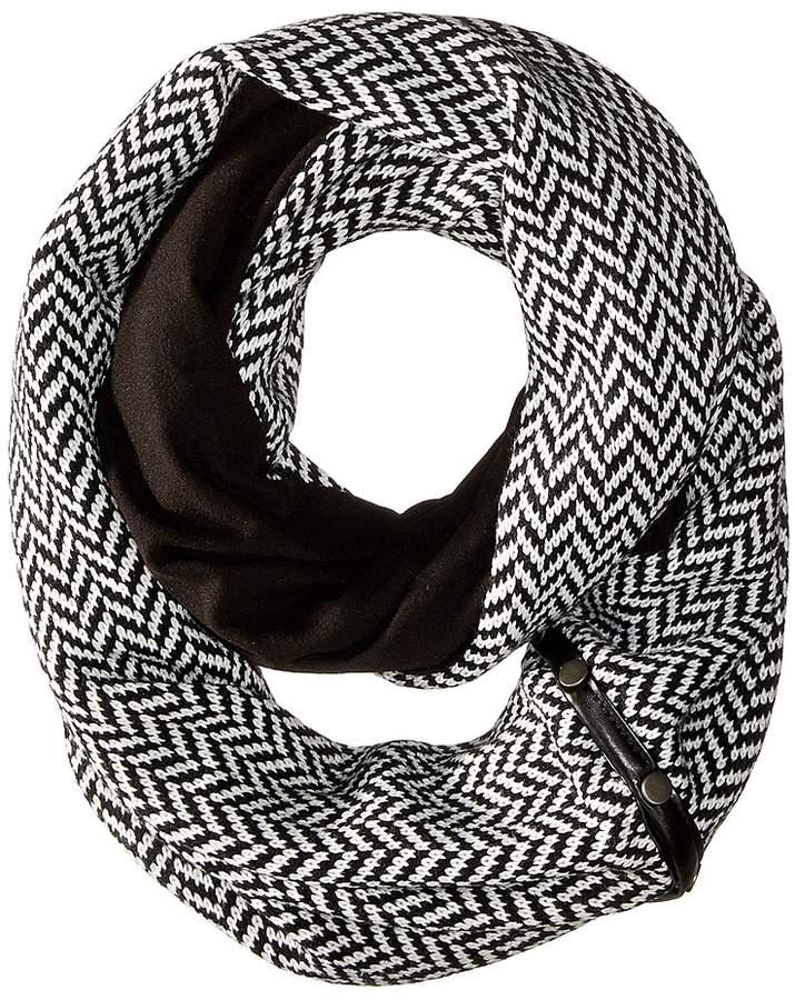 Plush - Fleece - Lined Herringbone Snap Scarf Scarves