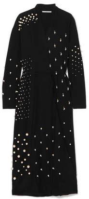 Stella McCartney Oversized Faux Pearl-embellished Silk Crepe De Chine Wrap Dress - Black