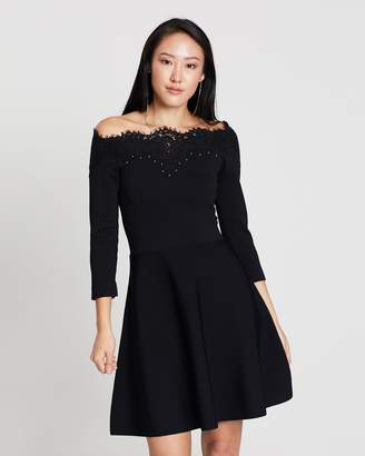 Karen Millen Lace Bardot Mini Dress