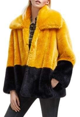 French Connection Sebille Colorblock Faux Fur Jacket