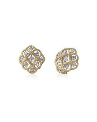 Buccellati Etoilee 18k Gold Button Earrings w/ Diamonds