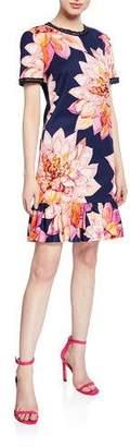 Trina Turk Coast Floral-Print Short-Sleeve Ruffle-Hem Dress