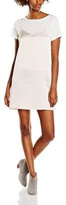 boohoo Women's Lucy 2 in 1 T-Shirt with Satin Slip No Information #254 Plain Short Sleeve Regular Dresses