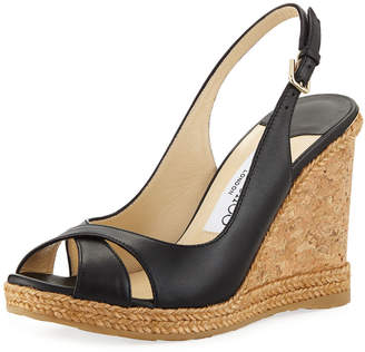 60d9d8be7ba Jimmy Choo Amely 105mm Leather Cork Wedge Sandals