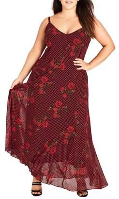 City Chic Gingham Poppy Maxi Dress