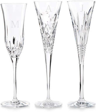 Waterford Monogram Set Of 2 Toasting Flutes Collection, Block Letters