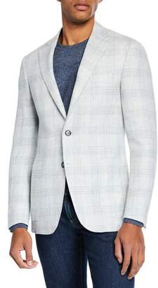 Canali Men's Sprezzatura Plaid Linen/Wool Sport Coat