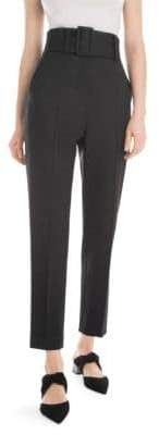 Sara Battaglia High-Waist Slim Pants