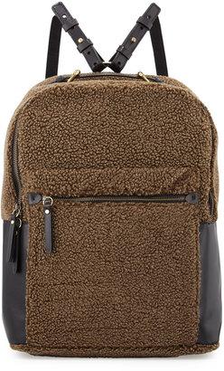 Kelsi Dagger Southside Faux-Shearling Backpack, Olive $150 thestylecure.com