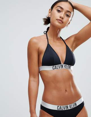 Calvin Klein Fixed Triangle Black Bikini Top