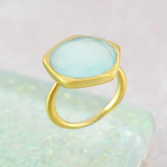 Embers Gemstone Jewellery Aqua Chalcedony Gold Semi Precious Ring