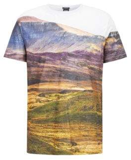 BOSS Hugo Relaxed-fit T-shirt in Pima cotton landscape print M Patterned