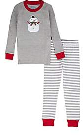 Sara's Prints KIDS' SNOWMAN-GRAPHIC COTTON-BLEND TOP & PANTS SET - GRAY SIZE 6 YRS