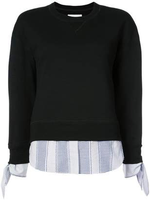 Derek Lam 10 Crosby Long Sleeve Sweatshirt With Shirting Tie Detail