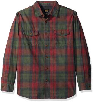 Lee Men's Long Sleeve Heathered Button Down Shirts