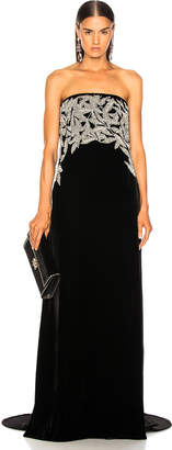 Oscar de la Renta Leaf Embroidered Velvet Strapless Gown in Black & Silver | FWRD