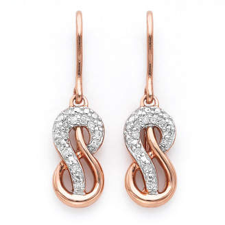 JCPenney FINE JEWELRY Infinite Promise 1/10 CTTW Diamond 14K Rose Gold Over Silver Infinity Earrings