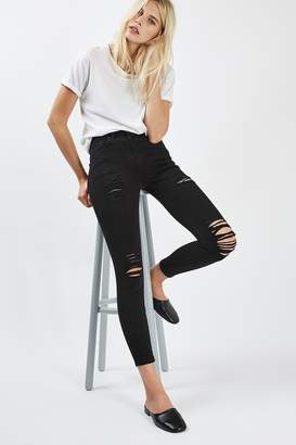 Topshop Womens Petite Super Rip Jamie Jeans - Black