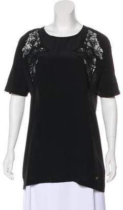 Gucci Lace-Accented Short Sleeve Top w/ Tags