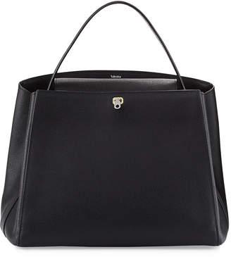 Valextra Triennale Large Leather Top-Handle Bag, Black