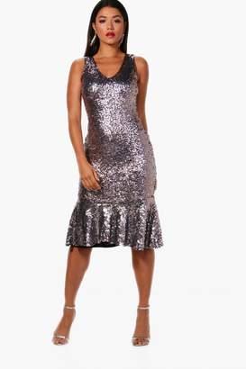 boohoo Boutique Sequin Frill Hem Midi Dress