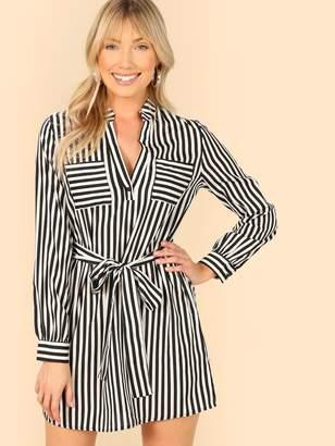 39ad6cbae769 Shein Striped Self Belt Utility Dress