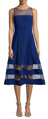 Aidan Mattox Crepe Mesh Fit-And-Flare Dress
