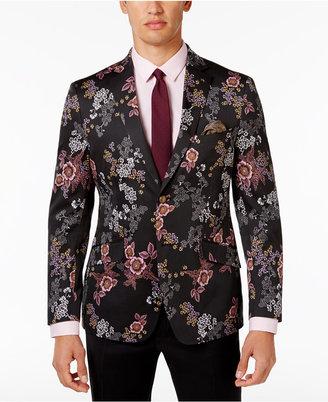 Tallia Men's Slim-Fit Black Floral Dinner Jacket $350 thestylecure.com