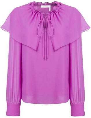 See by Chloe flouncy neck tie blouse
