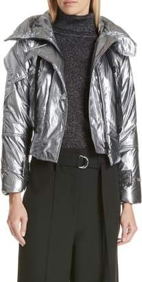 Robert Rodriguez Metallic Crop Puffer Jacket