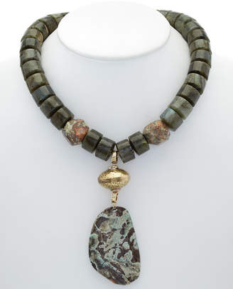 Devon Leigh 14K Plated Labradorite & Jasper Necklace