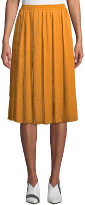Joan Vass Pleated Charmeuse Midi Skirt
