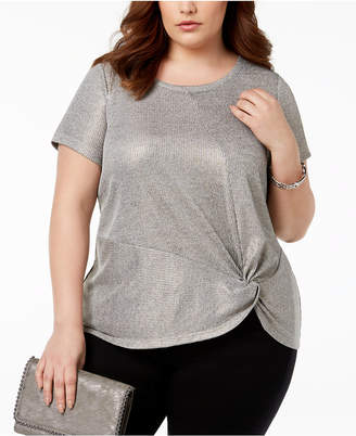INC International Concepts I.N.C. Plus Size Twist Front Top, Created for Macy's