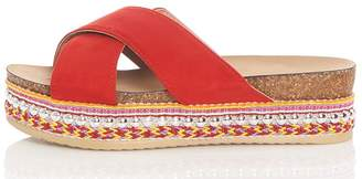 Quiz Red Strap Embellished Flatform Sandals