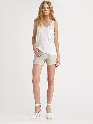 Alexander Wang Stretchy Cotton Canvas Rolled Shorts
