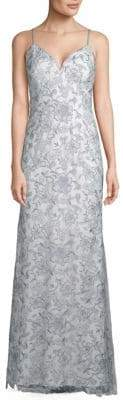 Carmen Marc Valvo Sleeveless Floral Gown