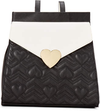 Betsey Johnson Black & Bone Heartbeat Quilted Backpack