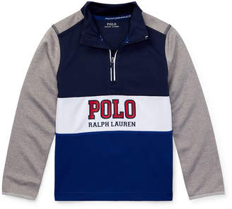 Ralph Lauren Childrenswear Colorblock Logo Half-Zip Knit Top, Size 2-4
