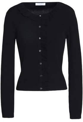 Sandro Revy Ruffle-Trimmed Ribbed-Knit Cardigan