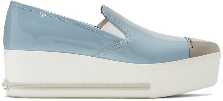 Miu MiuMiu Miu Blue Platform Slip-On Sneakers