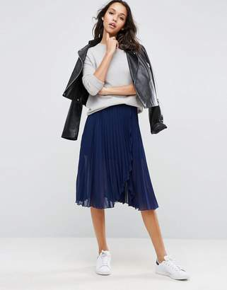 ASOS Pleated Midi Skirt with Wrap Front Detail $46 thestylecure.com